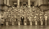 Marching band on the steps of state capitol, Santa Fe, New Mexico