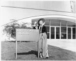 Greer Garson outside theater she built on College of Santa Fe campus, Santa Fe, New Mexico