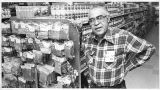 Tito Griego in his store, Tito's Market, on Acequa Madre and Garcia Street, Santa Fe, New Mexico