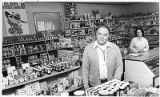 Proprietor MelitonVigil Jr. in the Palace Grocery on East Palace Avenue, Santa Fe, New Mexico