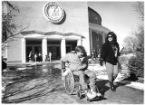 John and Vicki Enright visited the capitol on a cross-country wheelchair journey to raise...