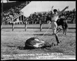 Mabel Strickland roping steer