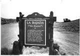 La Bajada (the descent) road sign south of Santa Fe, New Mexico