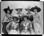 Group of cowgirls from top left; Fox Hastings, Bea Kirnan, Rose Smith and Mabel Strickland. Bottom...