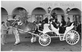 Horse and buggy outside Hotel Saint Francis, Santa Fe, New Mexico