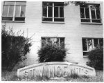 Old Saint Vincent's Hospital sign on Palace Avenue, Santa Fe, New Mexico