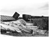 Wreckage from train derailment in Lamy, New Mexico
