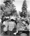 Crowd gathers on plaza for the July 4th pancake breakfast, benefiting United Way, Santa Fe, New...
