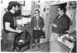 Employees meet in the office of The Line Camp, a roadhouse in operation from 1979-1986, Pojoaque,...