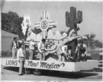 Lions Club members prepare parade float, Santa Fe, New Mexico