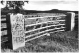 "Spray-painted message ""Don't mess with Pecos"" protests proposed sale of the Greer Garson..."