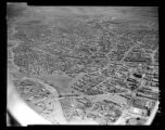 Aerial view of Santa Fe, New Mexico, including Grant St., Sandoval St, Guadalupe St, with Carlos...