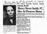 "Newspaper article ""Henry Street Smith, 97, Dies at Pioneers Home"""