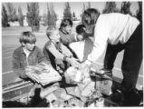 Fifth-graders at Kearney Elementary School conduct a recycling drive, Santa Fe, New Mexico