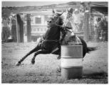 Barrel racer Colleen Burns, of Albuquerque, at rodeo in Santa Fe, New Mexico