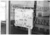 Gas shortage sign at gas station, Santa Fe, New Mexico