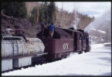 Cumbres and Toltec Railroad engine plows through snow in winter, New Mexico