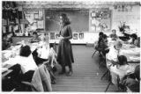 Third-grade teacher Janice Pfaff leads a math class, Santa Fe, New Mexico