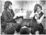 Faith Garfield and Ann Lindsay teach kindergarten students at New Mexico School for the Deaf,...