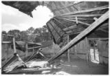 Collapsed roof of the hogan in Seton Village, Santa Fe, New Mexico