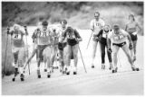 Competitors in the Nambe Roller Ski Race near the finish line, Nambe, New Mexico