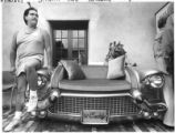 Sonny Jaramillo displays his Caddy Couch at contemporary Spanish Market, Santa Fe, New Mexico