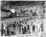 Crowd watches the Cumbres and Toltec railroad trains pass by, Chama, New Mexico