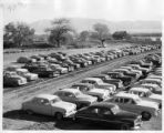 Rows of cars in dirt lot, New Mexico