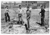Boys participate in the spring school clean-up drive, New Mexico