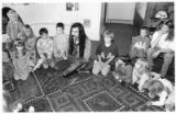 Storyteller Ken Edwards entertains students at Little Earth School on Zia Road, Santa Fe, New...