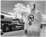 Jenny Schatzle, an anti-WIPP protestor, demonstrates against the threat of nuclear contamination,...