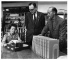Librarian Katherine McMahon, Riechmann and writer Howard Bryan at the Albuquerque Library, New...