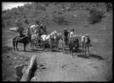 Group on horseback and wagons, near Cimarron, New Mexico