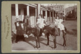 Genevieve Harrison (Dunlavy) and Helen Harrison (Fiske) on burros, West San Francisco Street,...