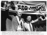 Former president Gerald Ford campaigning with congressional candidate Lou Gallegos, Santa Fe, New...