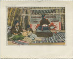 Christmas greeting card with indian weaving scene