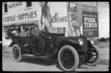 Dorothy Wadham, Jim Wadham, Helen Wadham, and Charles Seaverson[?] (at wheel) in the Peerless, La...