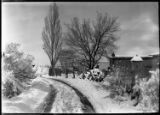 Winter street scene, Santa Fe, New Mexico