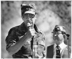 Adjutant General Edward Baca addresses World War II veterans, Santa Fe, New Mexico