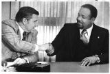 Charles Becknell, head of Afro-American Studies at University of New Mexico with Governor Bruce...