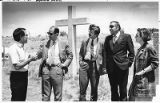 Espanola mayor Richard Lucero (left) and State Senator Tom Benavidez (second from right) greeting...