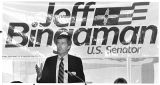 Jeff Bingaman campaigning for United States Senate, Santa Fe, New Mexico