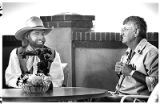 Governor Garrey Carruthers with country singer Michael Martin Murphy, Santa Fe, New Mexico