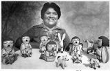 Cochiti Pueblo potter Helen Cordero with storyteller figures, Santa Fe, New Mexico
