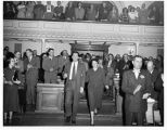Governor Edwin L. Mechem entering for State-of-the-State Address, Santa Fe, New Mexico