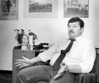 City council member and businessman John Egan sitting in his office, Santa Fe, New Mexico