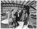 Gyroplane designer David Gittens (center) with Mitsubishi Corporation executives, Santa Fe, New...