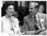 George McGovern, 1972 Democratic presidential candidate sharing stage with Mrs. Joseph Montoya