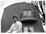 Ed Mazria, architect, at building he designed for the Institute of American Indian Arts on...