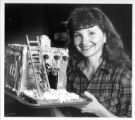 Desiree Witkowski and her adobe gingerbread house